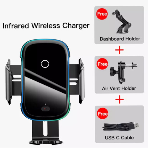 Foto Produk Baseus Qi Wireless Car Charger Sensor 15W Air Vent + Suction Cup - Hitam dari Ethan Store