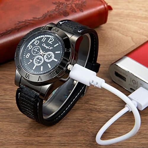 Foto Produk Jam Tangan Pria Korek Elektrik USB Hadiah Api Rokok Quartz Casio OULM dari yaxiya666
