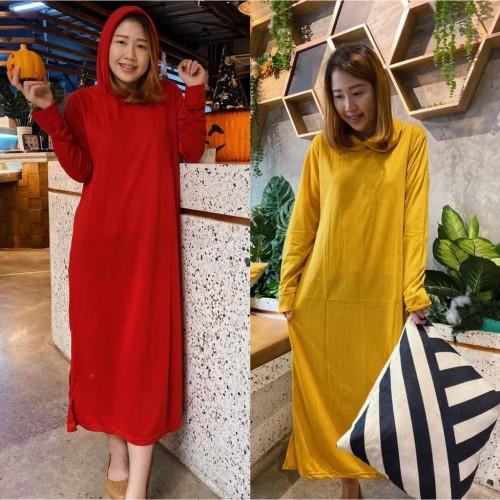 Foto Produk damai fashion jakarta- baju long dress wanita HOODIE BASIC MUTIA - dari LV.co Tanah abang