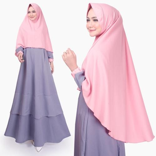 Foto Produk Setelan Muslim Original   Kiena Set   Gamis Syari Wanita  Tazkia Hijab - Grey dari Tazkia Hijab Store