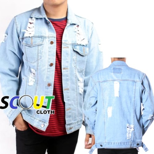 Foto Produk Jaket Jeans Pria Sobek Ripped dari Scout-Cloth