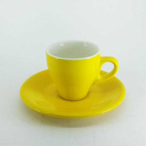 Foto Produk Cangkir Kopi Keramik Tebal Espresso Cup with Saucer Espresso Culture dari Kopi Jayakarta