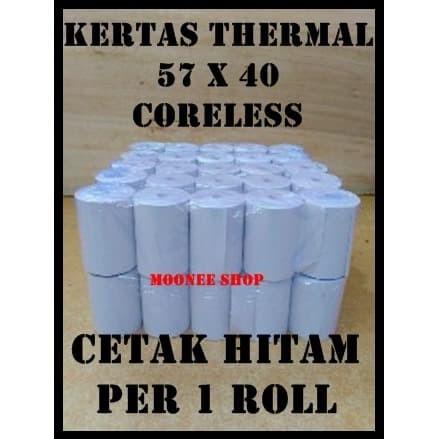Foto Produk Kertas Thermal 57 X 40 / 57x40 / 58 x 40 / 58x40 mm per 1 Roll Polos dari Moonee Shop
