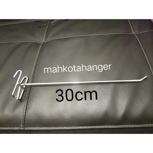 Foto Produk Single Ram 30cm besi chrome tebal gantungan cantolan aksesoris display dari MahkotaHangerJaya