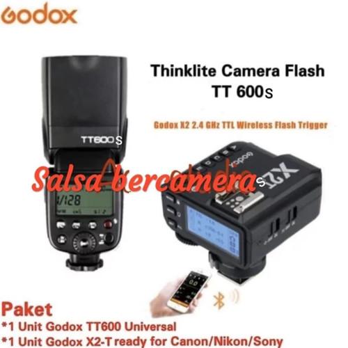 Foto Produk PAKET FLASH GODOX TT600 SONY HSS PLUS TRIGGER GODOX X2T TTL FOR SONY dari salsa bercamera