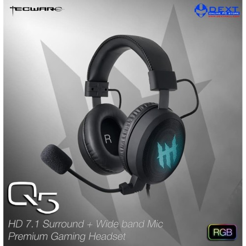 Foto Produk Tecware Q5 HD 7.1 Surround + Wide band Mic Premium Gaming Headset RGB dari DextMall
