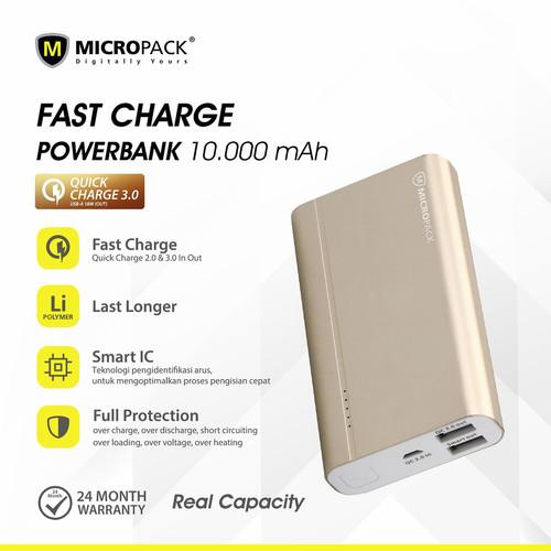 Foto Produk MICROPACK POWERBANK 10.000 MAH QUICK CHARGE 3.0 PB-10000Q3 BLACK [D] - Kuning dari Micropack Official Store