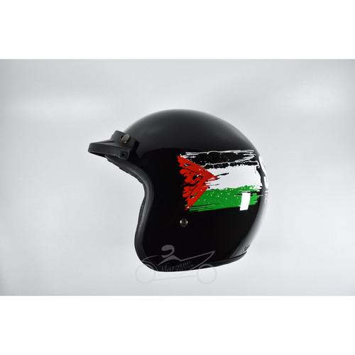 Foto Produk Helm Retro Half Face Save Palestine Black Ghazi Series Merk Marzano - hitam doff dari Marzano Helm