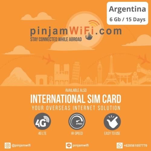 Foto Produk Sim Card Argentina Unlimited FUP 6 GB for 15 Days | Simcard Argentina dari Pinjam WiFi