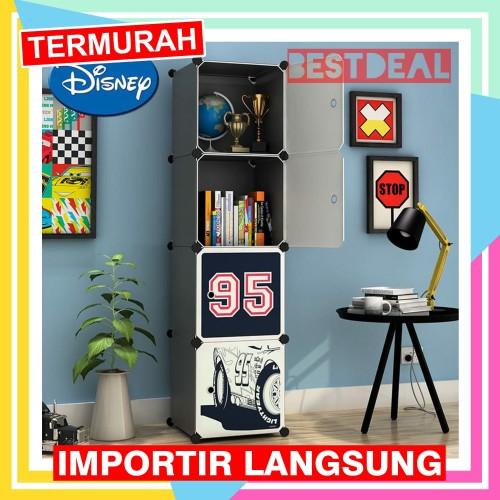 Foto Produk lemari pakaian plastik kartun 4 pintu - rak baju anak WARDROBE CARTOON dari Nusantara Best Deal