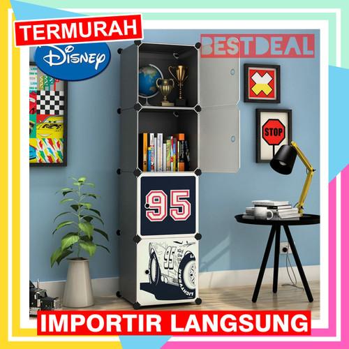 Foto Produk lemari pakaian plastik kartun 4 pintu - rak baju anak WARDROBE CARTOON - CARS dari Nusantara Best Deal