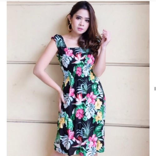 Foto Produk MINI DRESS KERUT BUNGA / DASTER SEMOKE BALI dari HIBAKO shop