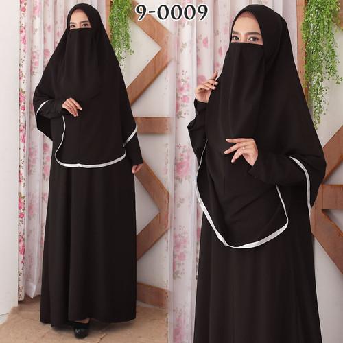 Foto Produk Baju Gamis Syari Syar i Syar'i Cadar Set Baju Gamis Wanita 9-0009 - Hitam, XXL dari Hitjab & Co