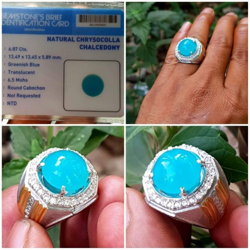 Foto Produk Natural chrysocolla chalcedony plus ring perak hongkong alpaka dari Sinar Permata Nusantara