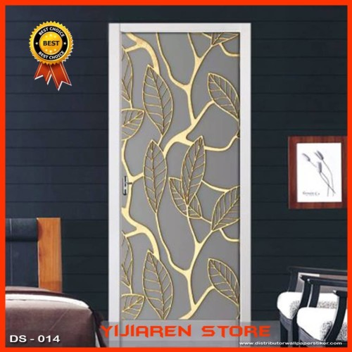Foto Produk 3D Wallpaper Pintu | Door Sticker Custom |Uk 77x200cm | Motif Daun 014 dari Yijiaren Store