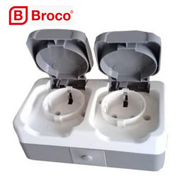 Foto Produk BROCO Atlantic Double Socket Outlet Outdoor Stop Kontak Tutup 2252 dari Britplaza