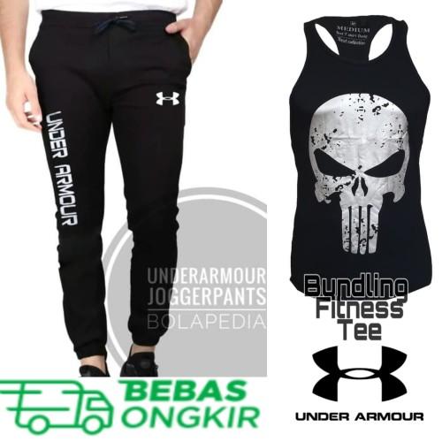 Foto Produk PAKET Singlet Punisher + celana jogger trainin gym fitness underarmour dari Bolapedia