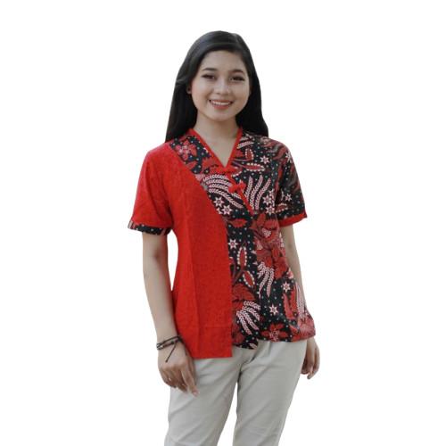 Foto Produk Blouse Batik Wanita Kombinasi Embos Manggar Merah - 4L dari BATIK DUA PUTRI