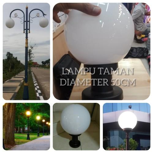 Jual Kap Lampu Taman Bulat Putih Susu Fitting E27 Diameter 50cm Jakarta Pusat Lentera Jaya Abadi Tokopedia
