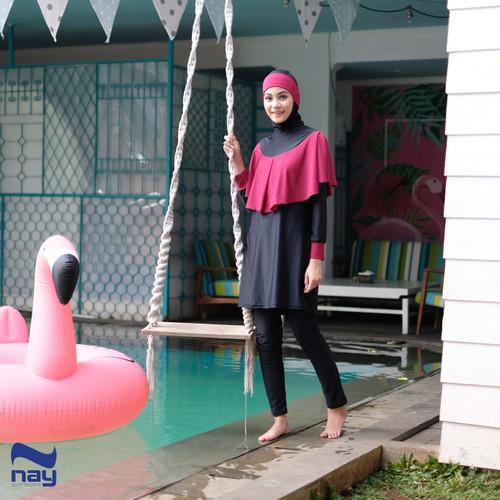 Foto Produk Baju Renang Muslimah - Khirani Swimwear Black-Maroon - L dari Nay Sportswear