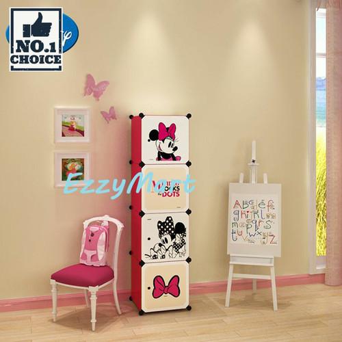 Foto Produk lemari pakaian plastik kartun 4 pintu - rak baju anak WARDROBE CARTOON - MINNIE MOUSE dari EzzyMart JAKARTA