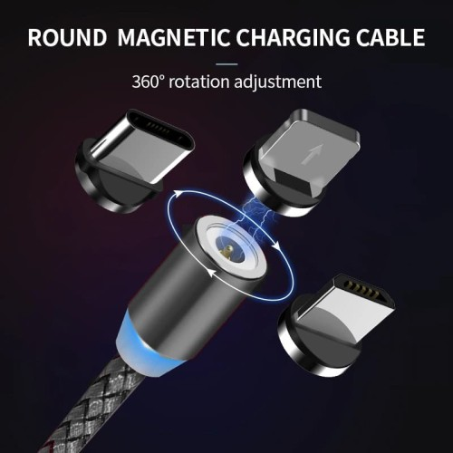 Foto Produk Kabel 3in1 magnetic magnet iphone android charger fast charging cable dari Original New