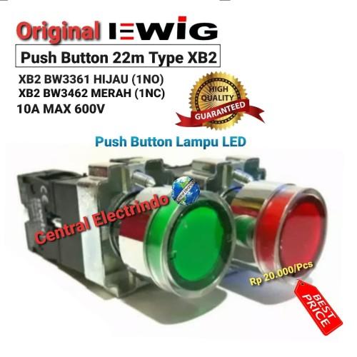 Foto Produk Push Button Lamp LED EWIG 22mm XB2 BW3361 Hijau/BW3462 Merah. - Hijau Tosca dari central electrindo