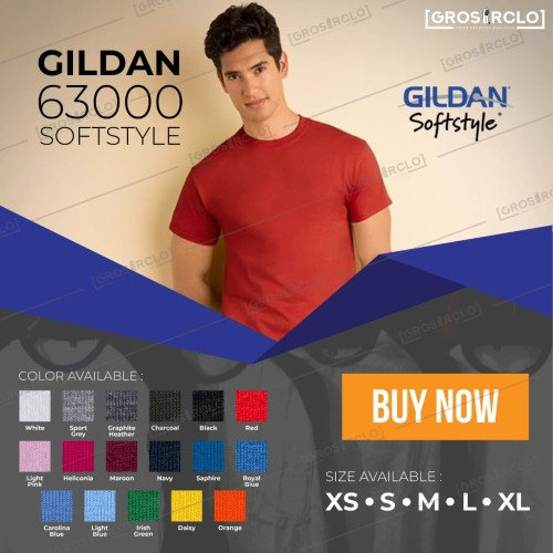 Foto Produk Kaos polos Gildan softstyle 63000 Import Original murah XS S M L XL dari Grosir clo
