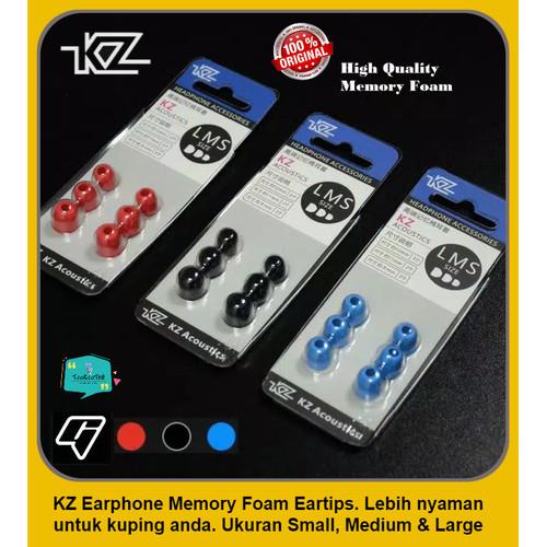 Foto Produk ORIGINAL KZ Knowledge Earphone Memory Foam Eartips 3 ukuran S, M & L - Hitam dari tookootri