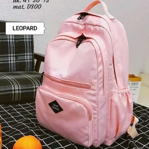 Foto Produk Tas Backpack Wanita Tas Ransel Sekolah Perempuan Korean Stylish - Merah Muda dari Deefaira Fashion
