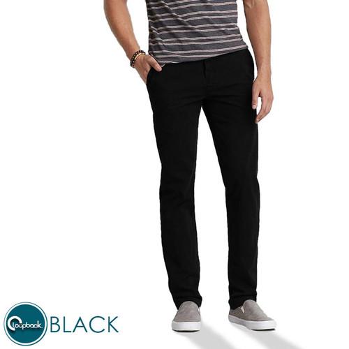 Foto Produk Celana Chino Slim Fit- Celana Panjang Pria Premium Black/hitam - Hitam, 27 dari Loopback Shop