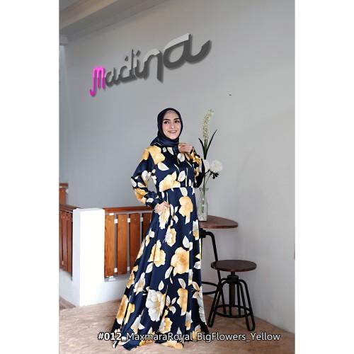 Foto Produk Gamis Cantik Motif Bunga Mekar Besar MadinaFactory bahan Maxmara Royal dari sigmashop