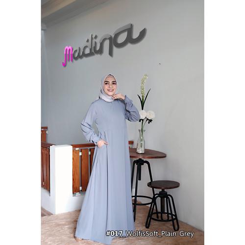 Foto Produk Gamis Dress Polos Cantik Minimalis MadinaFactory bahan Woolpeach Soft - Abu-abu dari sigmashop