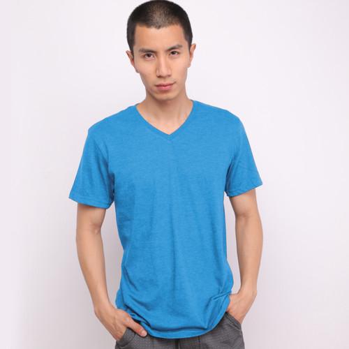 Foto Produk Muscle Fit Kaos Polos V-Neck Lengan Pendek Cotton -MISTY Color- 1 PCS - Biru Muda, M dari Muscle Fit