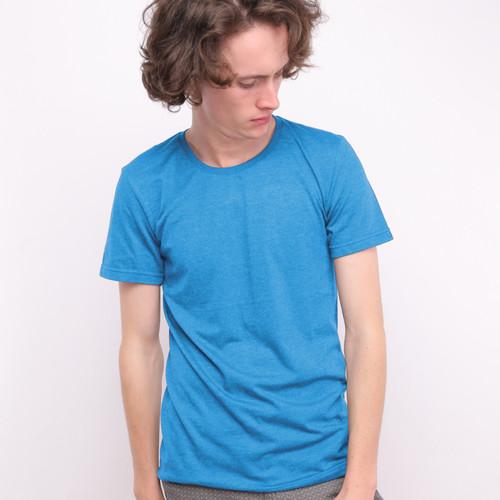 Foto Produk Muscle Fit Kaos Polos O-Neck Lengan Pendek Cotton -Warna Misty- 1 PCS - Biru Muda, M dari Muscle Fit