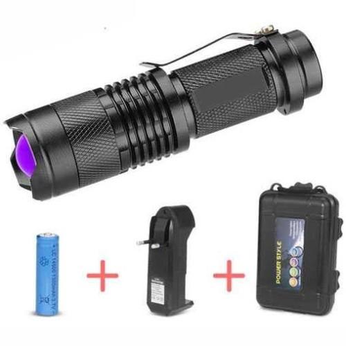 Foto Produk Paket Senter LED Cree Q5 395nm UV Ultraviolet Ungu Box Baterai Charger dari lbagstore