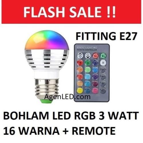 Foto Produk Lampu LED RGB 3W bohlam 3 watt bulb 3 w REMOTE CONTROL E27 16 WARNA R1 dari AgenLED