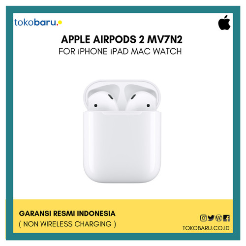 Foto Produk [RESMI GARANSI INDO] Apple Airpod Airpods 2 [MV7N2ID/A] Non Wireless dari tokobaru_official