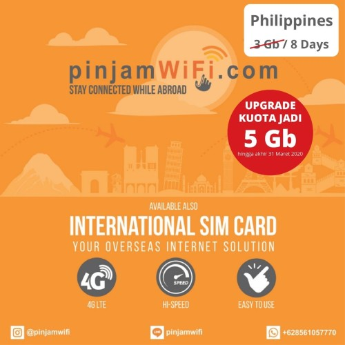 Foto Produk Sim Card Filipina Unlimited FUP 3 GB for 8 days | Simcard Philippines dari Pinjam WiFi