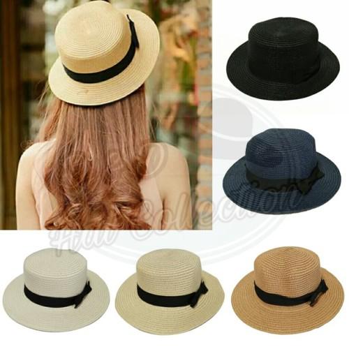 Foto Produk Topi Boater Import Topi Pantai Wanita Straw Hat Pita Hitam dari D & D Hat Collection