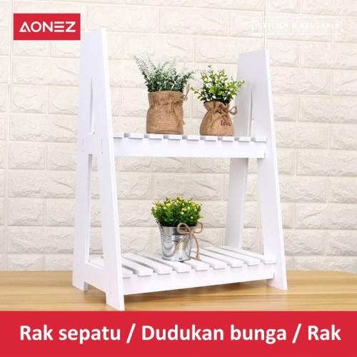 Foto Produk AONEZ Rak Tanaman Bunga Mini untuk Pot Bunga 2 tingkat Rak Bunga - Putih dari AONEZ Official Store