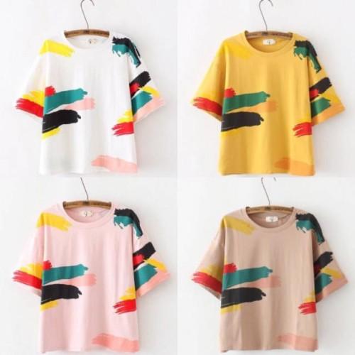 Foto Produk Baju Wanita Kaos Wanita Paint Shirt (Bhn Spandek Soft /Good Quality) dari Kedai Dinda
