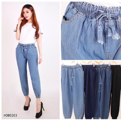 Foto Produk Celana Panjang Wanita Pinggang Karet Model Jogger Jeans Cewek - Dongker, All Size dari Glorious Jeans