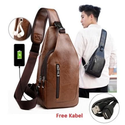 Foto Produk Tas Selempang Kulit Pria Sling Bag kulit USB Port Tas Selempang #09 - Cokelat Muda dari Alat Ukur Dan Repeater