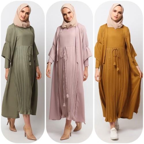 Foto Produk Gamis Muslim Wanita Le Najwa Laura Dress Earth Tone - NAVY dari Kamnco