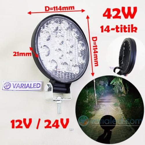 Foto Produk Lampu LED 42W SOROT BULAT 12V 24V 14 Titik Worklight Slim Offroad - 12V dari variaLED