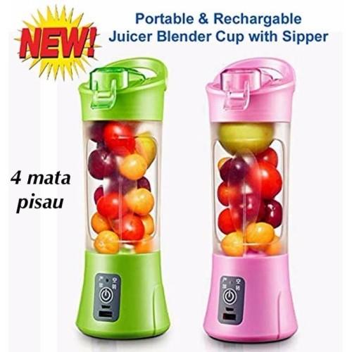 Foto Produk Blender Juice GEN 2 Shake & Go Blender Portable 4 pisau Tutup Botol - Merah Muda dari juragan kado