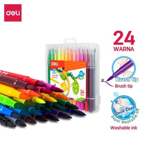 Foto Produk Deli EC10324 felt pen soften Brush tip 24 colors dari Deli Stationery