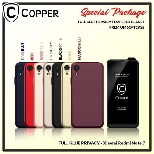 Foto Produk Redmi Note 7 - Paket Bundling Tempered Glass Privacy Dan Softcase dari Copper Indonesia