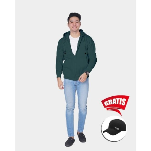 Foto Produk Vallenca Jaket Zipper Pria Polos Warna Hijau Gratis Topi Keren - S dari VALLENCA OFFICIAL